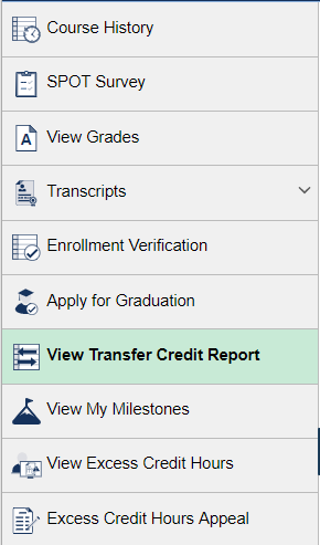 View Transfer Credit Report